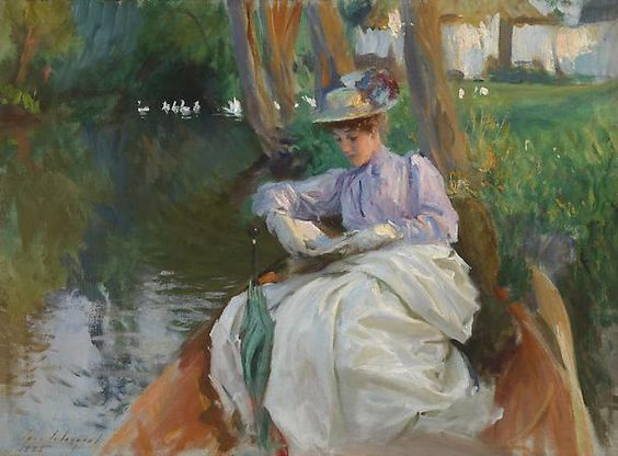 'Femme en barque' ('Woman in a Boat') (c.1885-88) by John Singer Sargent (1856-1925). Oil on canvas. 50.80 x 68.58 cm (20 x 27 in). Private collection. // Found by @RandomMagicTour (twitter.com/...) - Sasha Soren - Book trailer: www.youtube.com/... - Browse (Kindle/print):