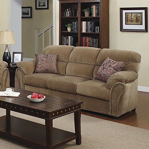 1perfectchoice Patricia Light Brown Velvet Sofa With Pillows