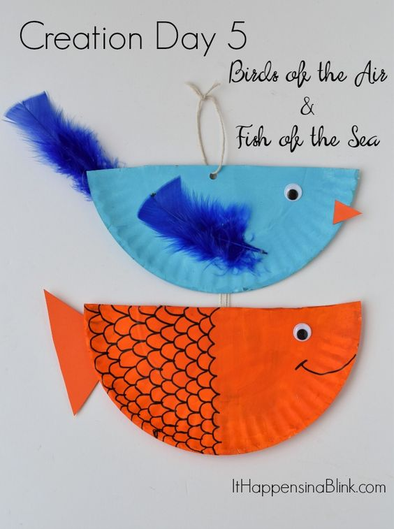 Creation Day 5 : Birds and Fish  |   A kid's craft centered around the fourth day of creation. Great for Sunday School, children's church, or VBS. This craft is a part of the Craft Through the Bible Series.