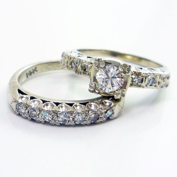 14K Vintage Retro 1950s Diamond Engagement Ring Wedding Band Set