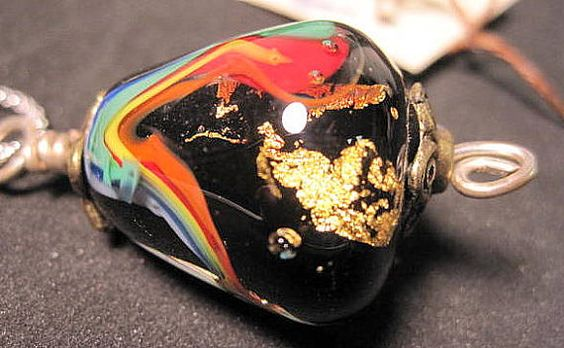 Rainbow gold inside glass bead pendant by BrownDogGlassBeads, $55.00