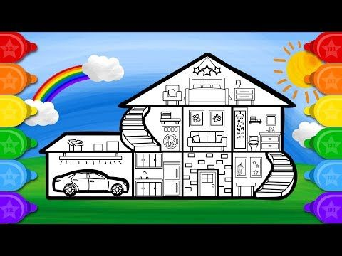 Sunny House Coloring And Drawing For Kids How To Draw House Coloring Page Youtube Drawing For Kids House Colouring Pages House Drawing