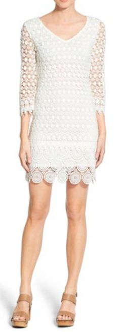 Mixed lace shift dress