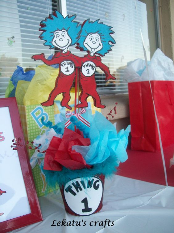 thing 1 and thing 2 baby shower centerpiece party ideas pinterest