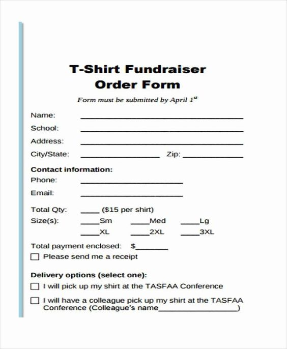 T Shirt Form Template Fresh Simple Order Forms Order Form Template Shirt Order T Shirt Fundraiser