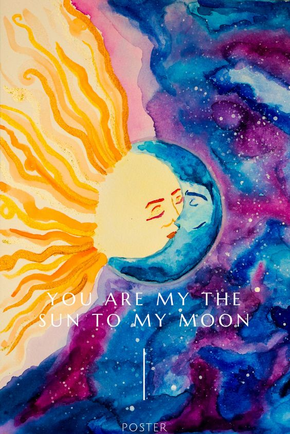 Sun And Moon Kissing Poster In 2020 Moon Sun Painting Sun