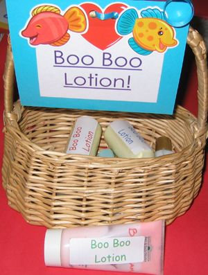 """Use """"Boo Boo Lotion"""" to make minor """"owies"""" feel better fast! Take small bottles of lotion you get from hotels and put a Boo Boo label on them. Place them in a basket next to your sink and when a child has a minor injury they can put a little Boo Boo lotion on it to make it feel better :)"""