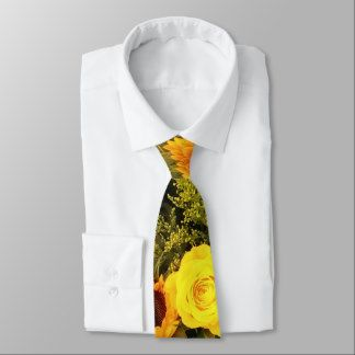 Orange Yellow Sunflower Roses Floral Bouquet Neck Tie