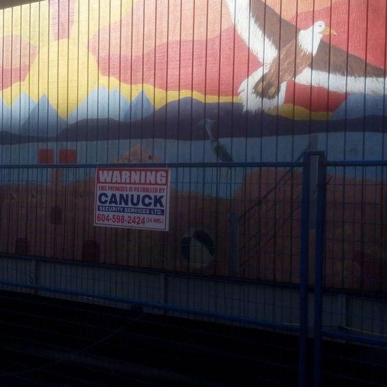 #art #constructionsite #eagle #sun #grian #iolair #canuck #fence