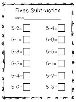 FREEBIE: Fives Subtraction! Worksheet to use in your kindergarten ...