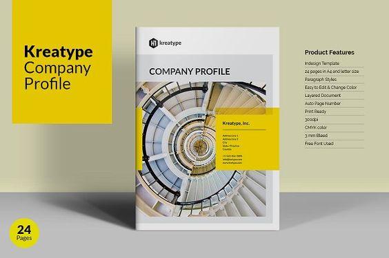 Company Profile by PixWork on @creativemarket Brochure Design - company profile free template