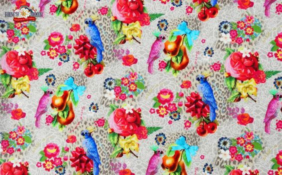 Parrot Party ~ Extra Wide, Lightweight Cotton Canvas Fabric