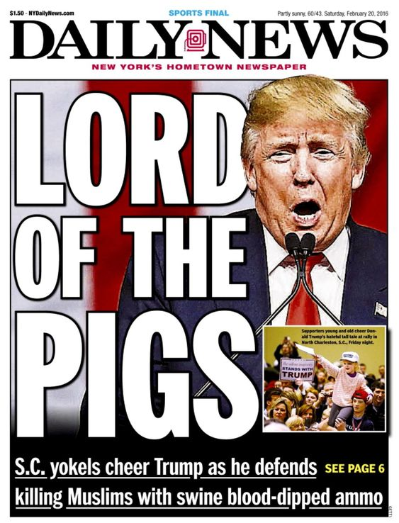 Donald Trump stumps in Charleston, South Carolina, and references an old, untrue yarn about General Pershing, who, while in the Philippines, supposedly dipped bullets in pig's blood before using them to kill Muslims.