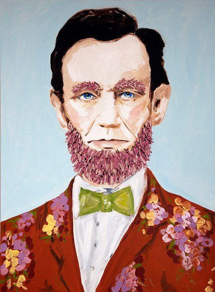 Abraham Lincoln With Pink Beard and floral suit