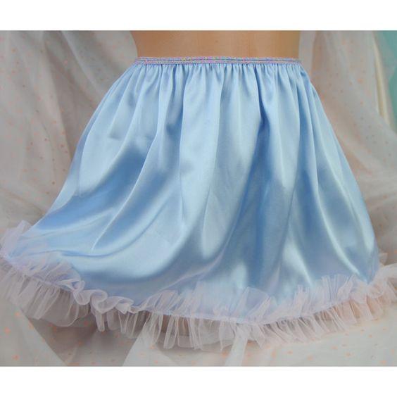Vtg Style Baby Blue Soft Satin Shiny Wetlook Sissy Mini Frilly Slip... ($23) ❤ liked on Polyvore featuring black, garters, hosiery, women's clothing, mini slip, satin slip and ruffle slip