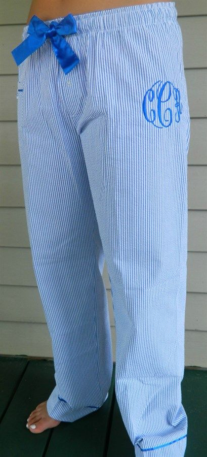 Get comfortable in our cool, stylish lounge pants or shorts made of 100% cotton seer sucker fabric. Pants features front accent pocket, stylish cuff, and 2-button false fly. Satin tie and inner-waistband complete this stylish pant.Sizes: XS (0-2)Small (2-4)Medium (6-8)Large (10-12)XL (14-16)Model is a size 8 and is wearing a medium. ***Please list monogram in the following order first, LAST, middle (example:Jane Doe Smithwould be JSD)Monogram color will match ri...
