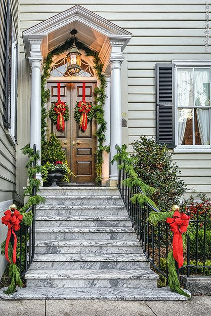 Christmas Decorated Porch On Meeting Street Charleston