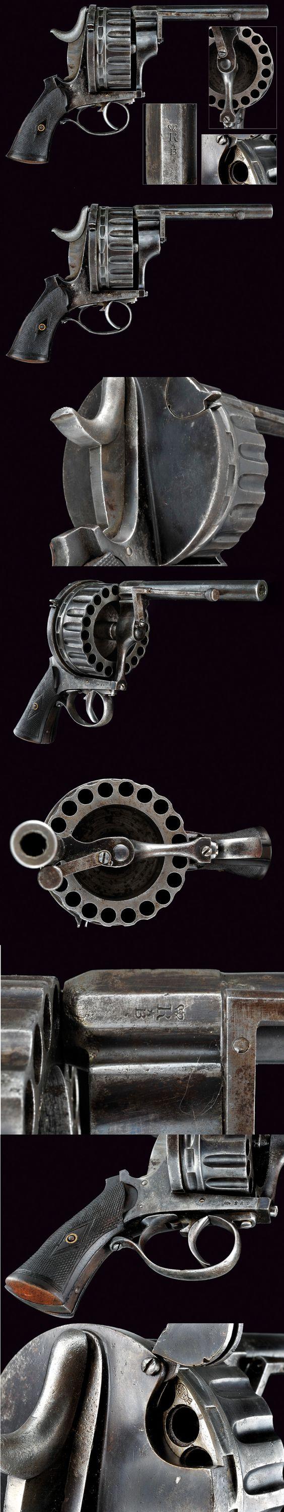 A very scarce twenty-shot centerfire revolver. provenance: Europe dating: third quarter of the 19th Century: