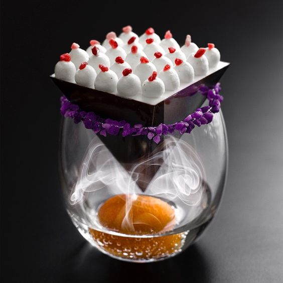 'Le Louvre' inspired by the inverted pyramid of the louvre museum... - ganache xxx - crémeux fresh vanilla pod - crème chantilly xxx - kamquat - vodka badoit - vanilla smoke: