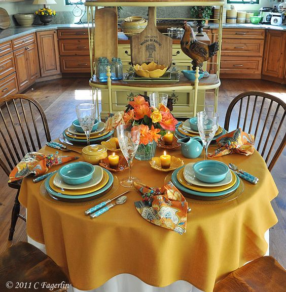 I want that tablecloth to set the table with the sunflower for Kitchen table setting ideas