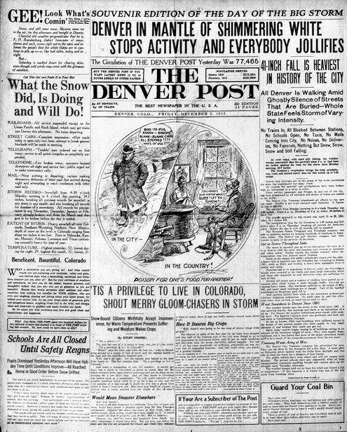 From 1913: Denver in Mantle of Shimmering White Stops Activity and Everybody Jollifies