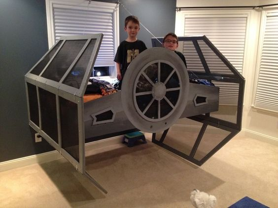 star wars tie fighter bed a long time ago in a galaxy far far away pinterest ties war. Black Bedroom Furniture Sets. Home Design Ideas