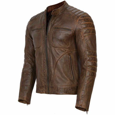 Mens Biker Motorcycle Slimfit Distressed Real Leather Jacket