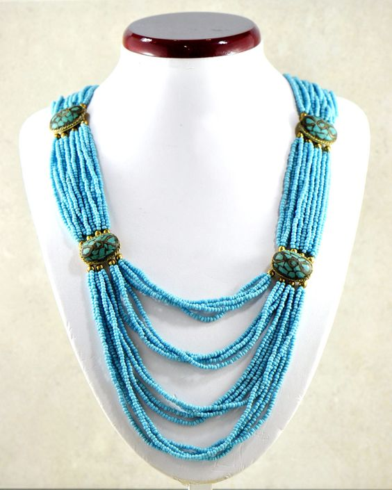 Turquoise Blue Beads and Tibetan Turquoise Inlay Stations Necklace
