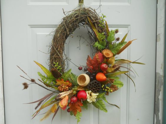 Fall Fruit Oval Grapevine wreath by ChloesCraftCloset on Etsy, $40.00