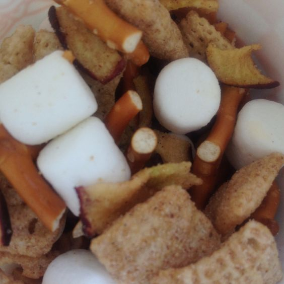Apple Delight Mix......Apple Cinnamon Chex Mix, dried apple chips, mini pretzels, marshmallows and a dash of cinnamon sugar.