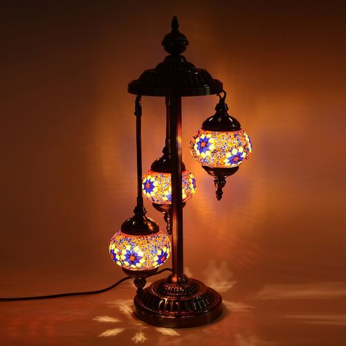 Handmade Turkish Moroccan Style 3 Globe Mosaic Glass Table Lamp