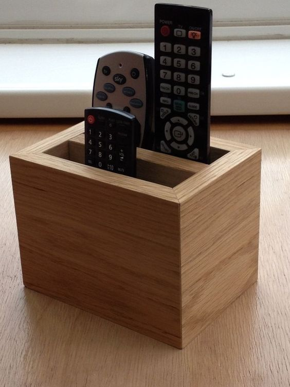 Oak remote control holder:
