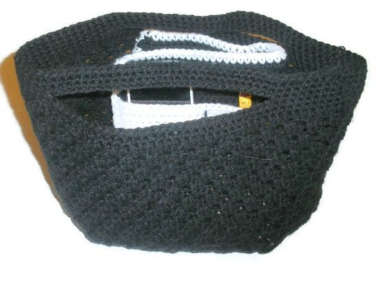 Crochet Purse Black 12 inches by StitchinCreations on Etsy