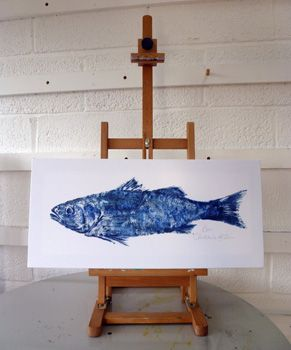 Our beautiful Bass Caught by Joseph May aboard Sunbeam 12 July 2011.preserved on canvas