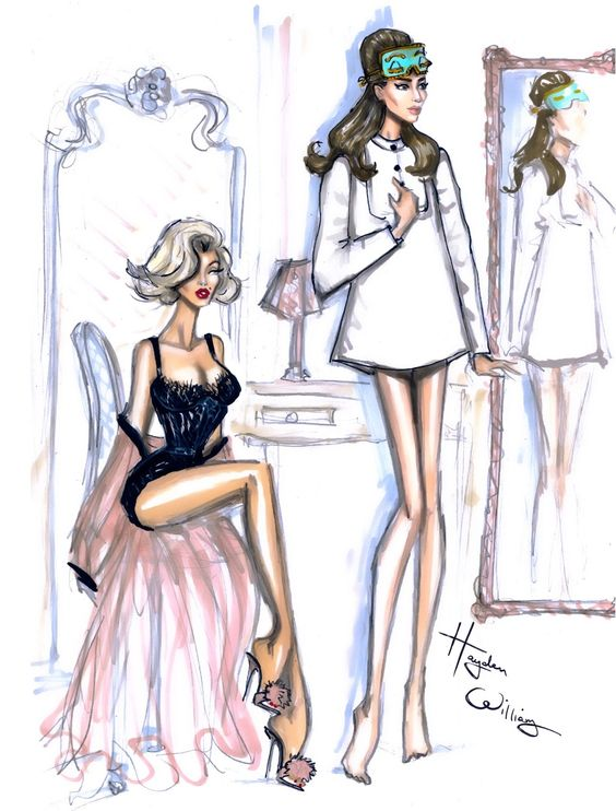 Hayden Williams Fashion Illustrations 39 Old Hollywood Boudoir 39 Starring Marilyn And Audrey By