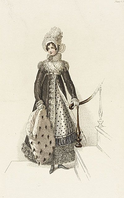 Fashion Plate (Half Mourning Walking Dress), London, England, Early 19th century, Los Angeles County Museum of Art: