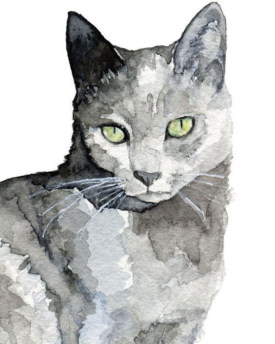 Grey Cat peinture impression de ma par TheColorfulCatStudio
