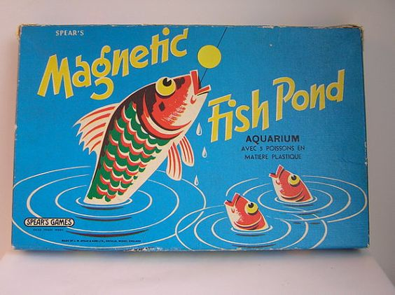 Vintage magnetic fish pond game from england by for Fish pond game