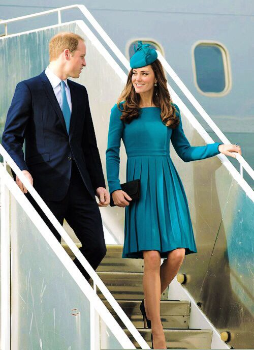 Australian tour 2014: At Dunedin Airport on April 13 Kate emerged from the plane in an aquamarine dress made by Emilia Wickstead, one of her favourite designers.