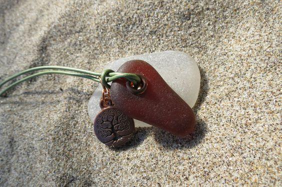 Sea Beach Glass Neclace Tree of Life Charm.  via Etsy.