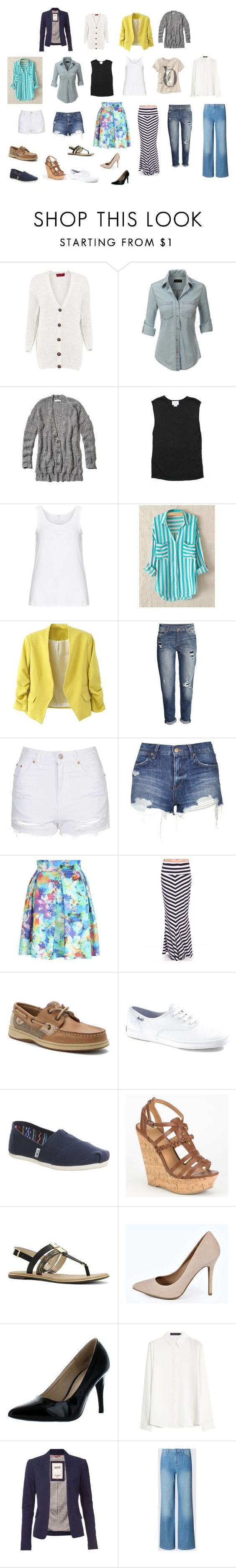 """Spring/Summer 2016"" by thexangelsxmuse on Polyvore featuring LE3NO, Abercrombie & Fitch, LOFT, Zhenzi, H&M, Topshop, Jane Norman, Sperry Top-Sider, Keds and TOMS"