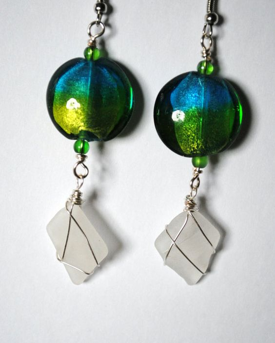 White Sea Glass Earrings Wire Wrapped Jewelry by TheSeaOfDreams, $38.00