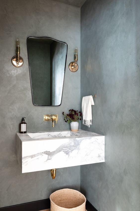 12 Beautiful Breathtaking Powder Room Ideas Plaster Walls Powder Room Vanity Powder Room