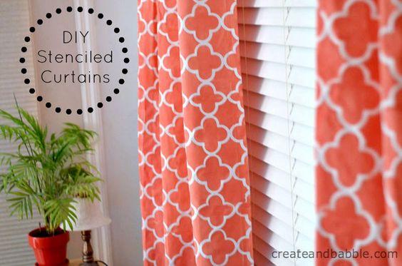 DIY stenciled curtains: Decor Crafts, Stenciled Curtains, Curtains Diy, Diy Stenciled, Coral Curtains, Curtains Google, Custom Curtains, Diy Curtains