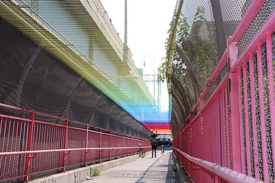 Rainbow tunnel created out colours thread by artist HOTTEA and associates...