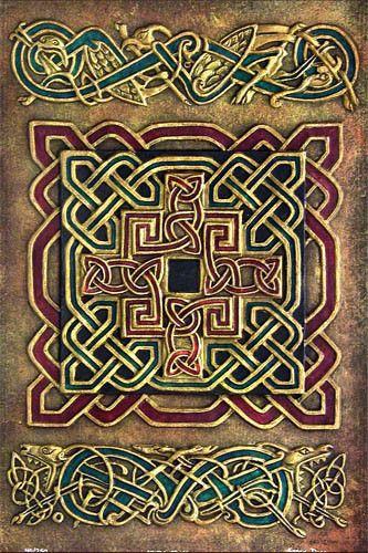 Book of Kells. Traditional Celtic knots.