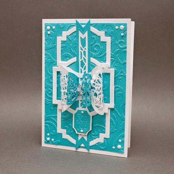 Blog tonic: Deco Geometric Layering Dies - a teal card from Karen