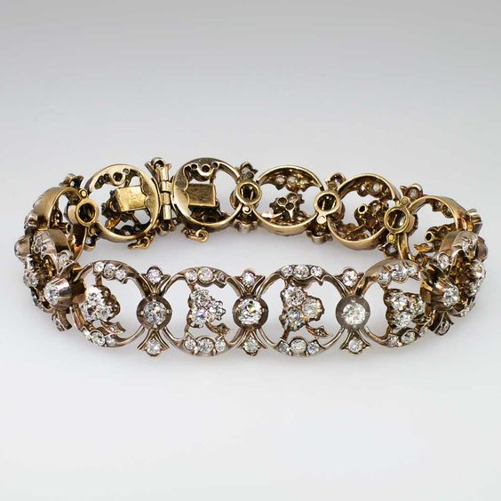 Sensational 1890's 10.89ct t.w. Old Mine Cut Diamond Bracelet 14k/SS | SOLD: 11/26/14 Antique & Estate Jewelry | Jewelry Finds Price: $15250.00