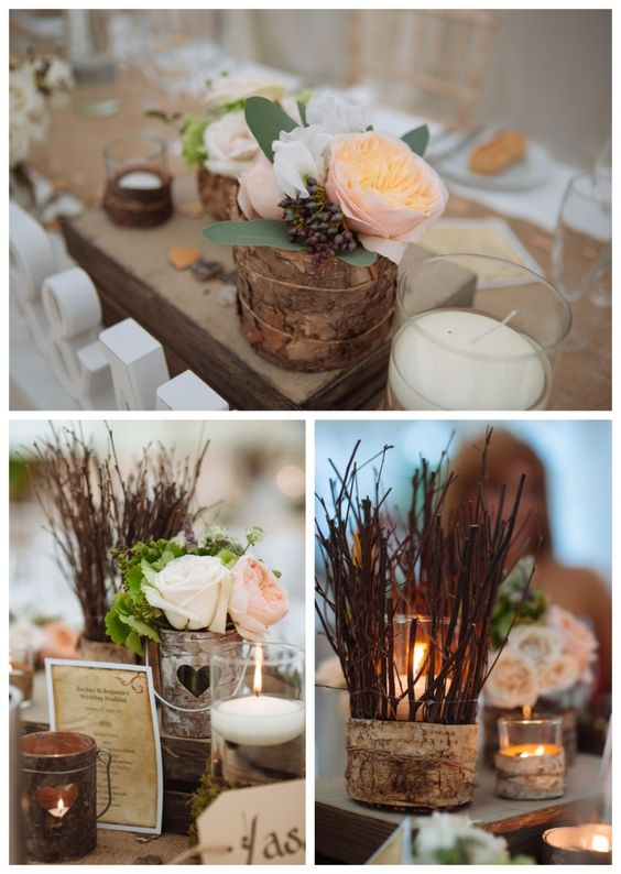 Arreglos y centros de mesa / Bodas rústicas / Eventos rústicos / Ideas originales para bodas / Decoraciones bodas / Rustic weddings / Rustic wedding flowers in peach with twigs and tree bark. Image by Toast of Leeds Wedding Photography
