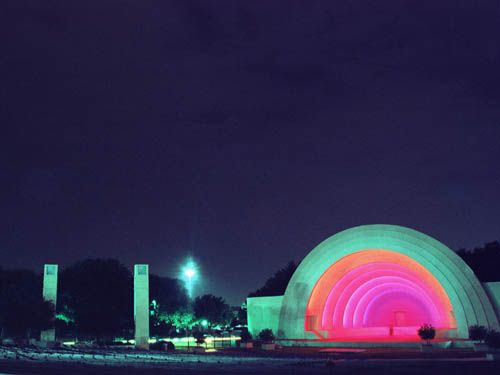 This is a beautiful lighting design of the Fair Park Amphitheater Band Shell, Dallas, Texas, designed by GSR Andrade Architects.
